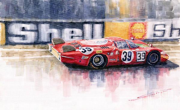 Racing Car Wall Art - Painting - Alfa Romeo T33 B2 Le Mans 24 1968 Galli Giunti by Yuriy Shevchuk