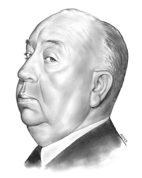 Movie Drawing - Alfred Hitchcock by Greg Joens