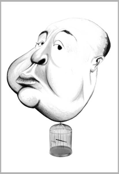 Suspense Digital Art - Alfred Hitchcock Illustration by Diego Abelenda