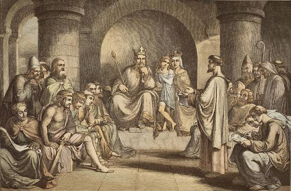 Colours Drawing - Alfred The Great Submitting His Laws by John Bridges
