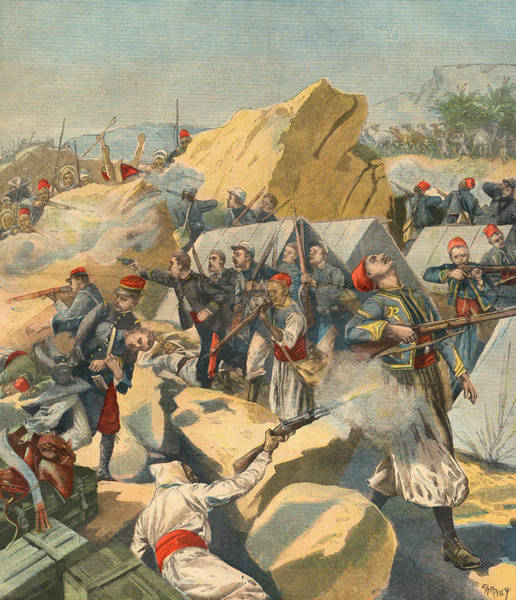 Wall Art - Drawing - Algerians Attack A French  Convoy by Mary Evans Picture Library
