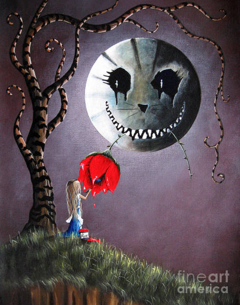 Red Moon Painting - Alice In Wonderland Original Artwork - Alice And The Dripping Rose by Erback Art