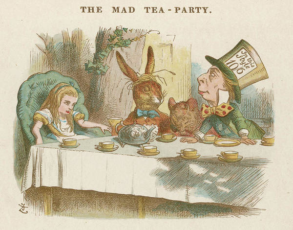 Wall Art - Drawing - Alice At The Mad Hatter's  Tea Party by Mary Evans Picture Library