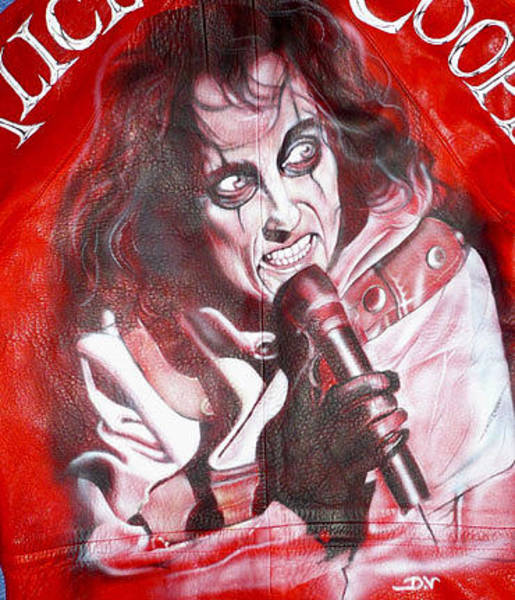 Acdc Painting - Alice Cooper Airbrushed Leather Jacket By Danielle Vergne by Danielle Vergne