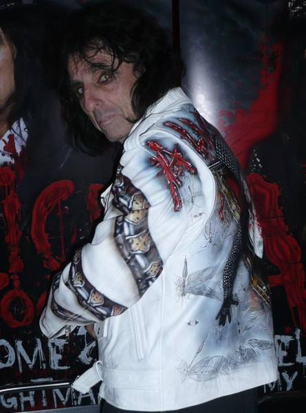 Acdc Painting - Alice Cooper Wear A Airbrushed Leather Jacket By Danielle Vergne by Danielle Vergne