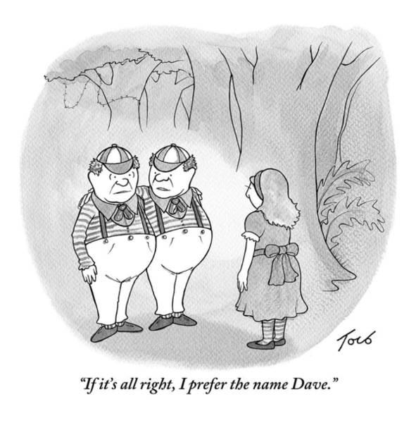 Alice Drawing - Alice Is Seen Talking With Tweedle-dee by Tom Toro