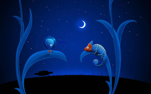 Outer Space Digital Art - Alien And Chameleon by Gianfranco Weiss