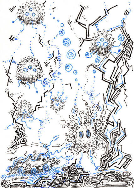 Drawing - Alien Biota by Regina Valluzzi
