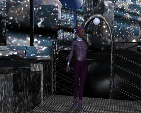 Digital Art - Alien City At Night by Judi Suni Hall