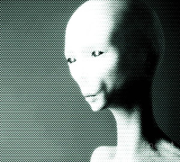 Alien Painting - Alien Grey Pattern by Pixel  Chimp