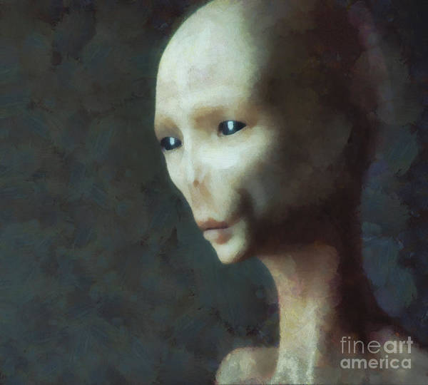 Area 51 Wall Art - Painting - Alien Grey Thoughtful  by Pixel Chimp