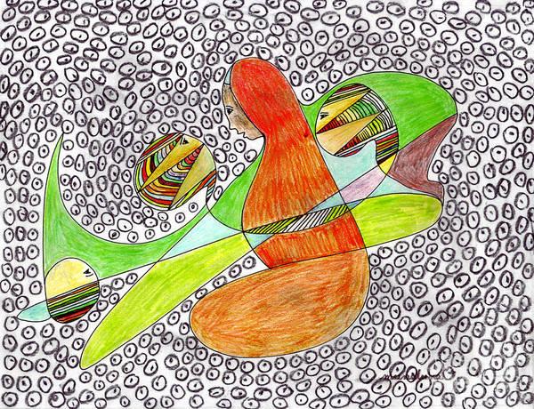 Oahu Drawing - Alien Women Teleportation by Mukta Gupta