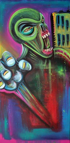 Wall Art - Painting - Alien Zombie by Laura Barbosa
