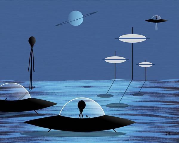 Digital Art - Aliens Blue Sky by Donna Mibus