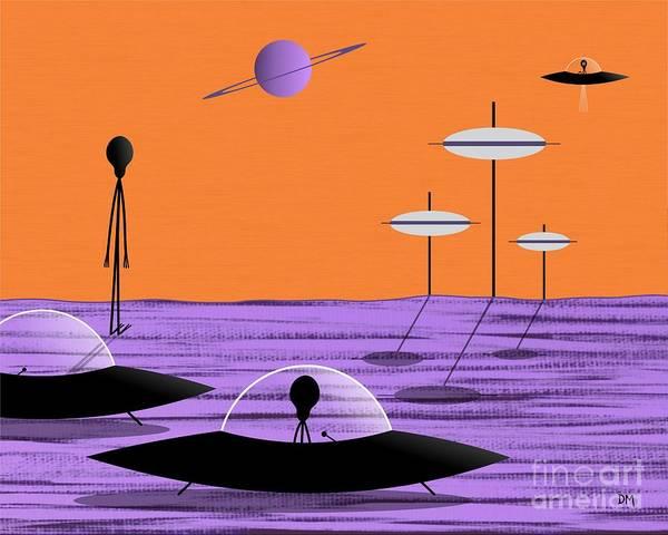 Digital Art - Aliens Orange Sky by Donna Mibus