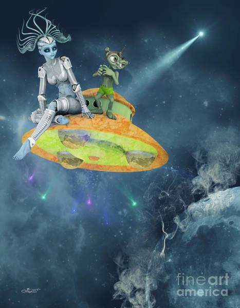 Digital Art - Aliens Traveling by Jutta Maria Pusl