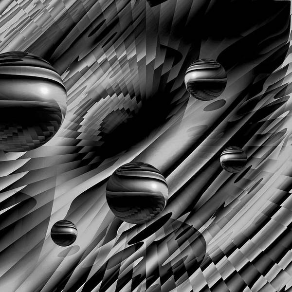 Planets And Moons Digital Art - Alignment Of The Planets Bw by Barbara St Jean