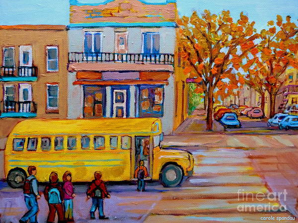 Painting - All Aboard The School Bus Montreal Street Scene by Carole Spandau