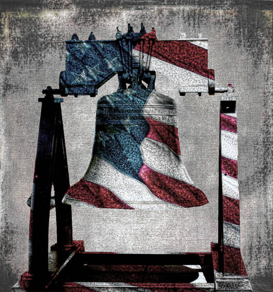 All American Liberty Bell Art_denim Art Print