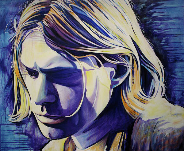 Wall Art - Painting - Kurt Cobain-all In All Is All We Are  by Joshua Morton