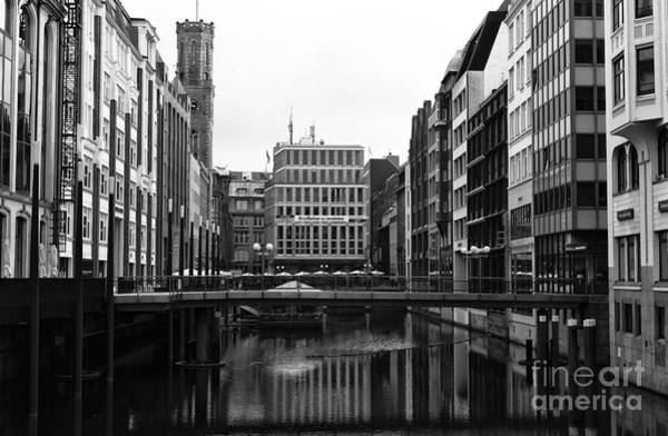 Photograph - All Quiet On The Hamburg Canal Mono by John Rizzuto