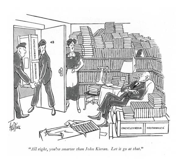 Encyclopedia Wall Art - Drawing - All Right, You're Smarter Than John Kieran. Let by George Price
