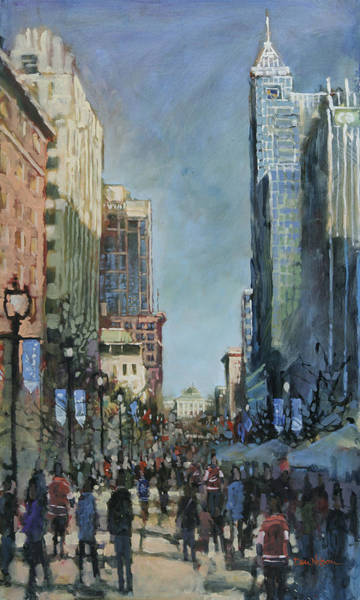 Downtown Raleigh Wall Art - Painting - All Star Morning by Dan Nelson