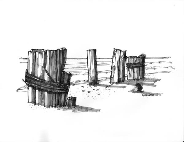 Drawing - All That Remains Ocracoke 1970s by Richard Wambach