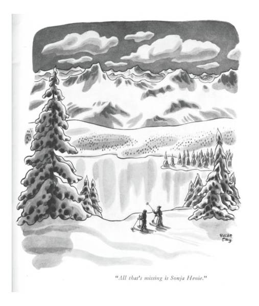 Winter Landscapes Drawing - All That's Missing Is Sonja Henie by Robert J. Day