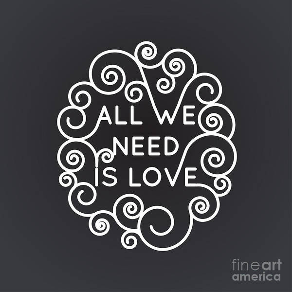 Wall Art - Digital Art - All We Need Is Love - Vector Geometric by Tatyana Yamshanova