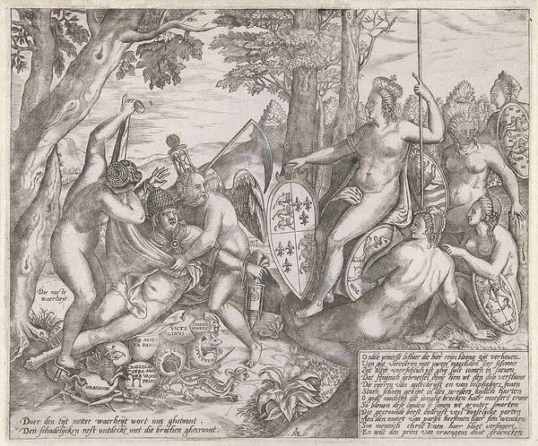 Pregnancy Drawing - Allegorical Cartoon Which The Personifications Of Truth by Pieter Van Der Heyden