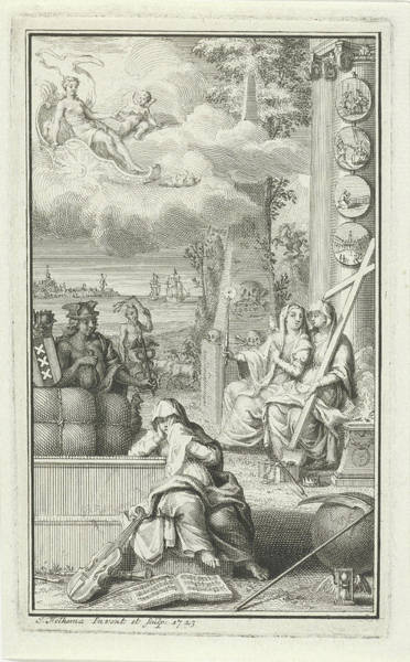 Allegorical Figure Drawing - Allegorical Figures In A Tomb, Jacob Folkema by Jacob Folkema