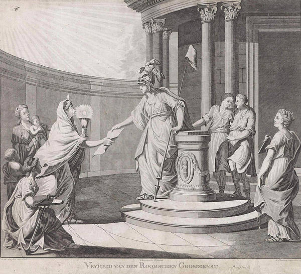 Fairness Wall Art - Drawing - Allegory Equating The Roman Catholic Religion With Other by Carel Frederik Bendorp I And Pieter Luyten And G.j. Derens