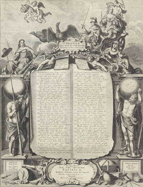 Allegorical Figure Drawing - Allegory In Honor Of Christina Of Sweden by Pieter Nolpe
