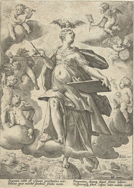 Holy Ghost Drawing - Allegory Of Art, Print Maker Hendrick Goltzius Workshop by Hendrick Goltzius And Claes Jansz. Visscher Ii