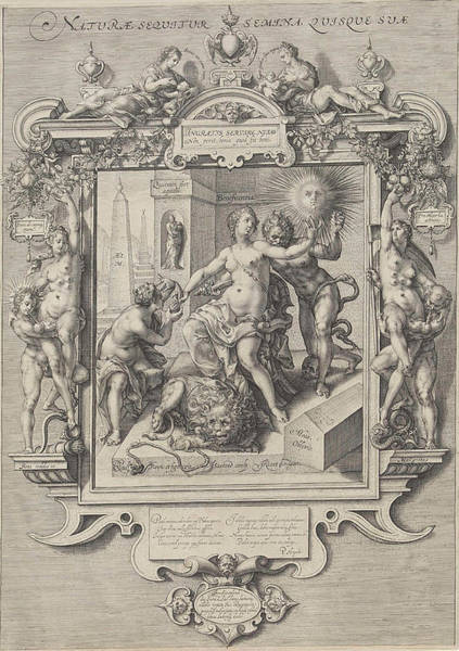 Wall Art - Drawing - Allegory Of Human Nature, Print Maker Jan Saenredam by Jan Saenredam And Cornelis Ketel And Petrus Hogerbeets