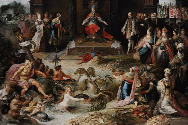 Wall Art - Photograph - Allegory Of The Abdication Of Emperor Charles V In Brussels, C.1630-1640, By Frans Francken by Bridgeman Images