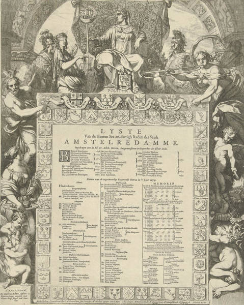 Olive Branch Drawing - Allegory Of The Board Of The City Of Amsterdam by Gerard De Lairesse And Jacobus Robijn