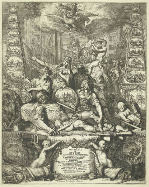 Allegorical Figure Drawing - Allegory On The Death Of Michiel De Ruyter by Romeyn De Hooghe