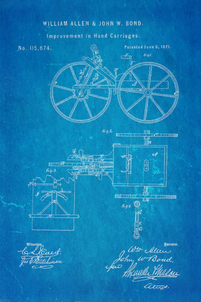 Pedal Car Wall Art - Photograph - Allen And Bond Hand Carriage Patent Art 1871 Blueprint by Ian Monk