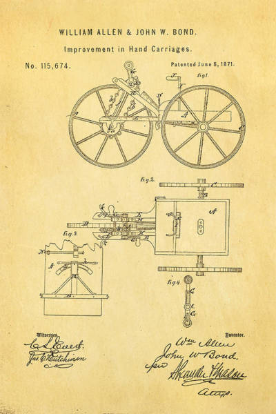 Pedal Car Wall Art - Photograph - Allen And Bond Hand Carriage Patent Art 1871 by Ian Monk
