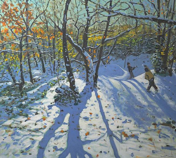 Icy Leaves Wall Art - Painting - Allestree Park Woods November by Andrew Macara