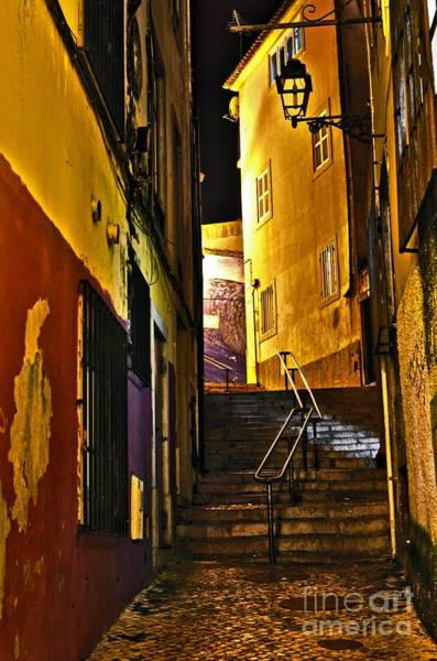 Photograph - Alley By Night - Cascais - Portugal by Carlos Alkmin