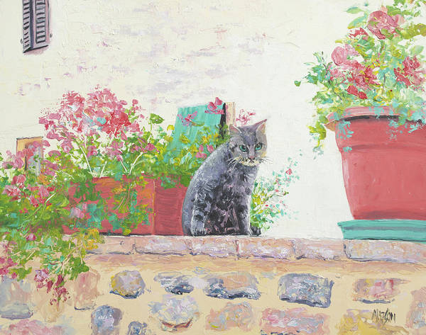 Terracotta Painting - Alley Cat by Jan Matson