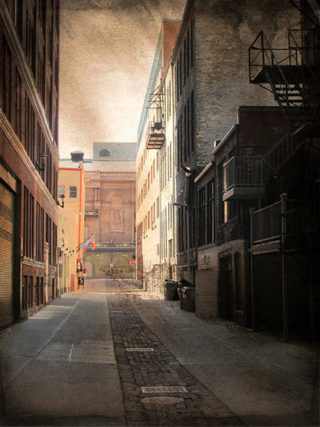 Digital Art - Alley Front Street And Grunge Border by Anita Burgermeister