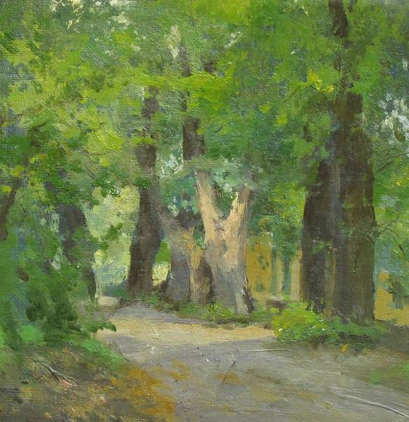 Park Avenue Wall Art - Painting - Alley In An Old Park by Victoria Kharchenko
