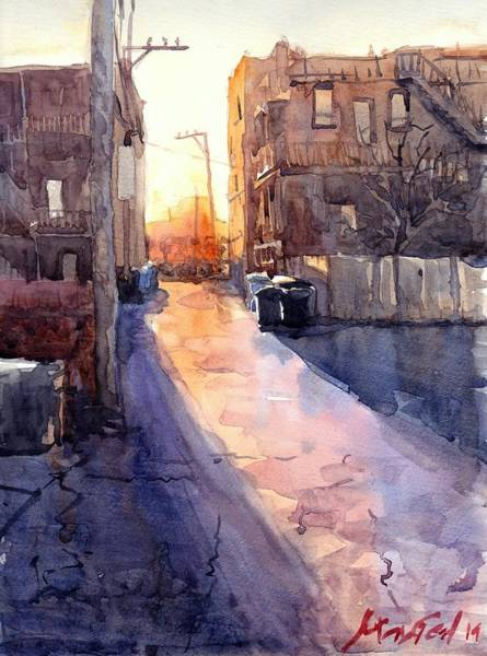 Wall Art - Painting - Alley Sunset by Max Good