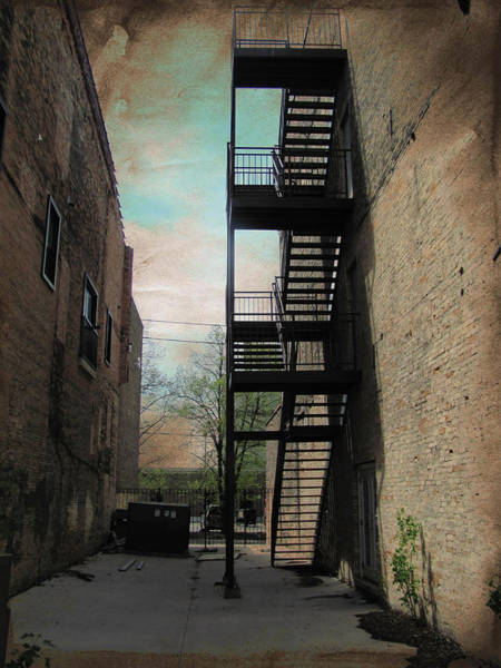Digital Art - Alley With Fire Escape And Grunge Border 1 by Anita Burgermeister