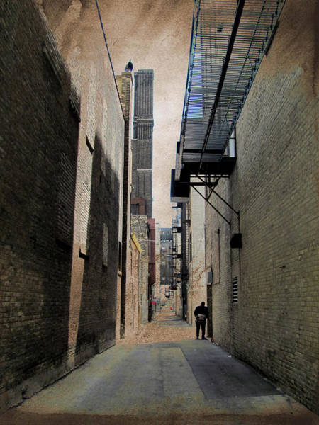 Digital Art - Alley With Guy Reading And Grunge Border by Anita Burgermeister