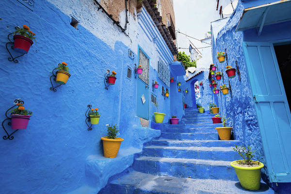 Chefchaouen Wall Art - Photograph - Alleyway In Chefchaouen, Morocoo by Stockstudiox